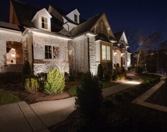 brentwood residential home with outdoor lighting