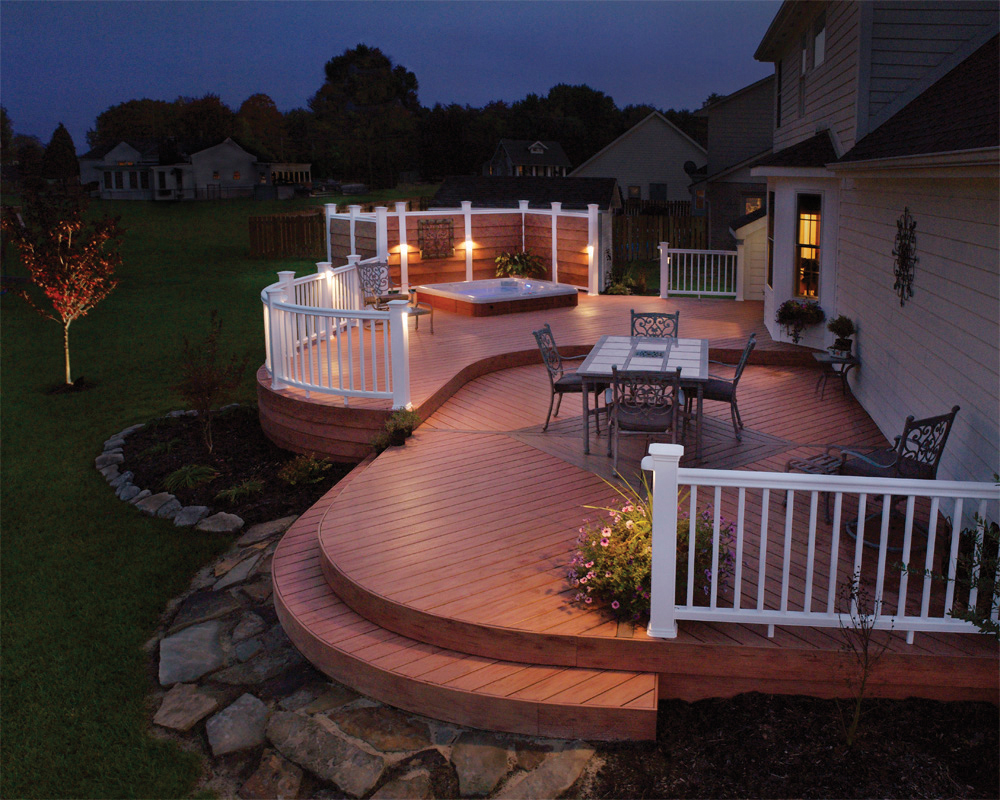 outdoor deck with deck lighting