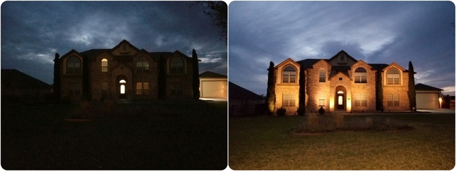 Before and after outdoor lighting demo