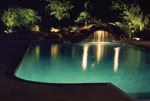 backyard pool and landscape lighting