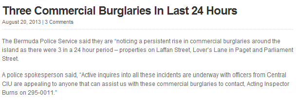 burglary news article