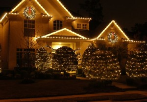 Christmas light installation on Orange County house