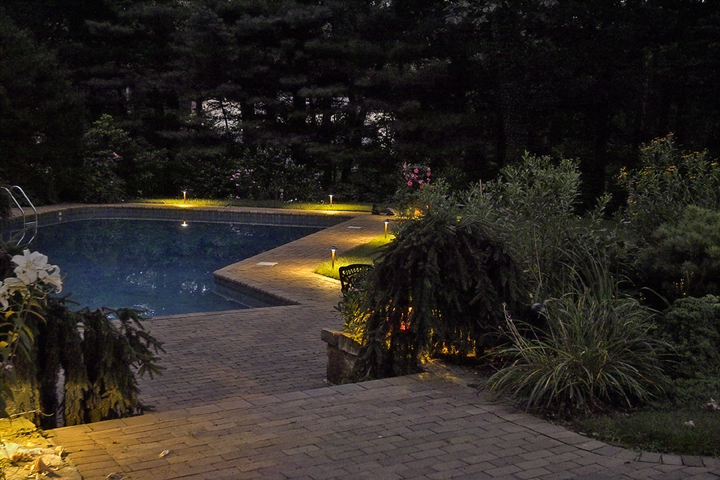 pool and patio lighting at night