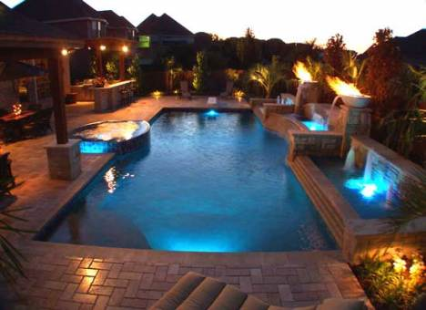 pool lighting with fire features
