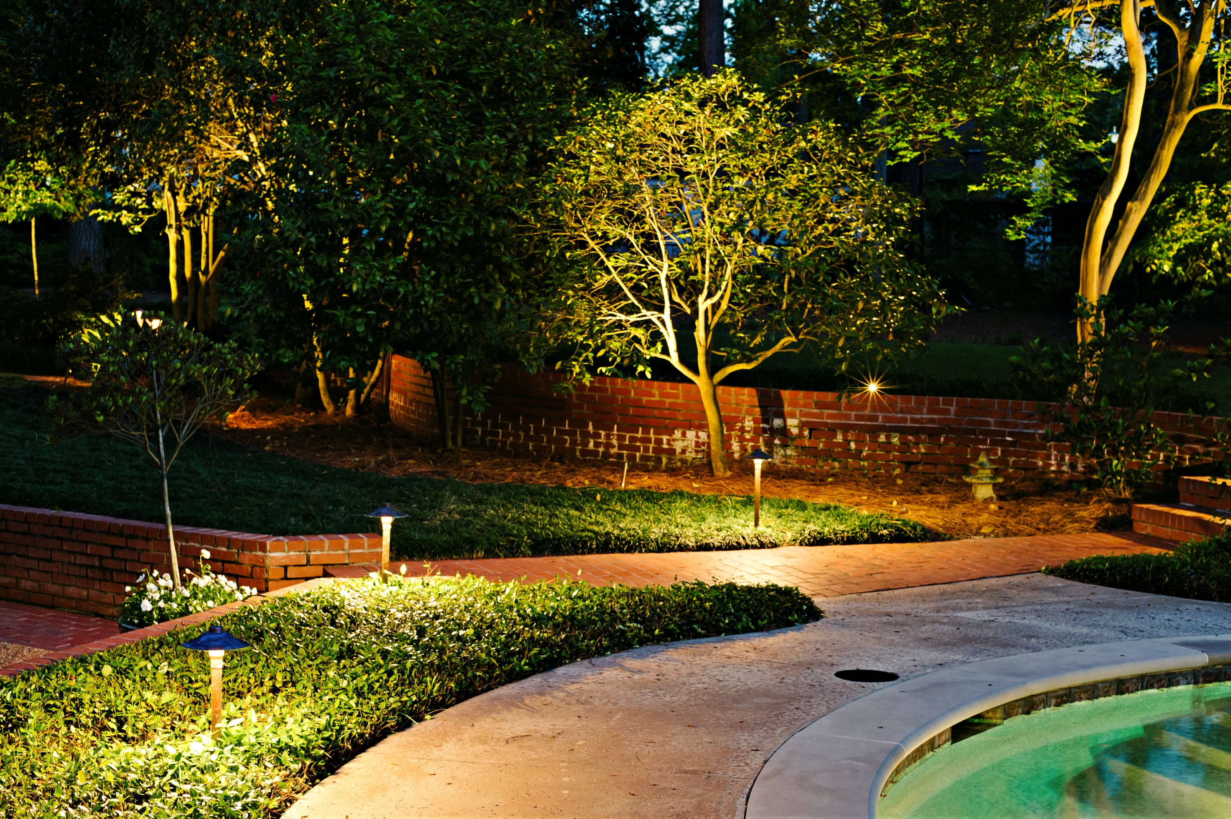 Lit walkway and landscaping