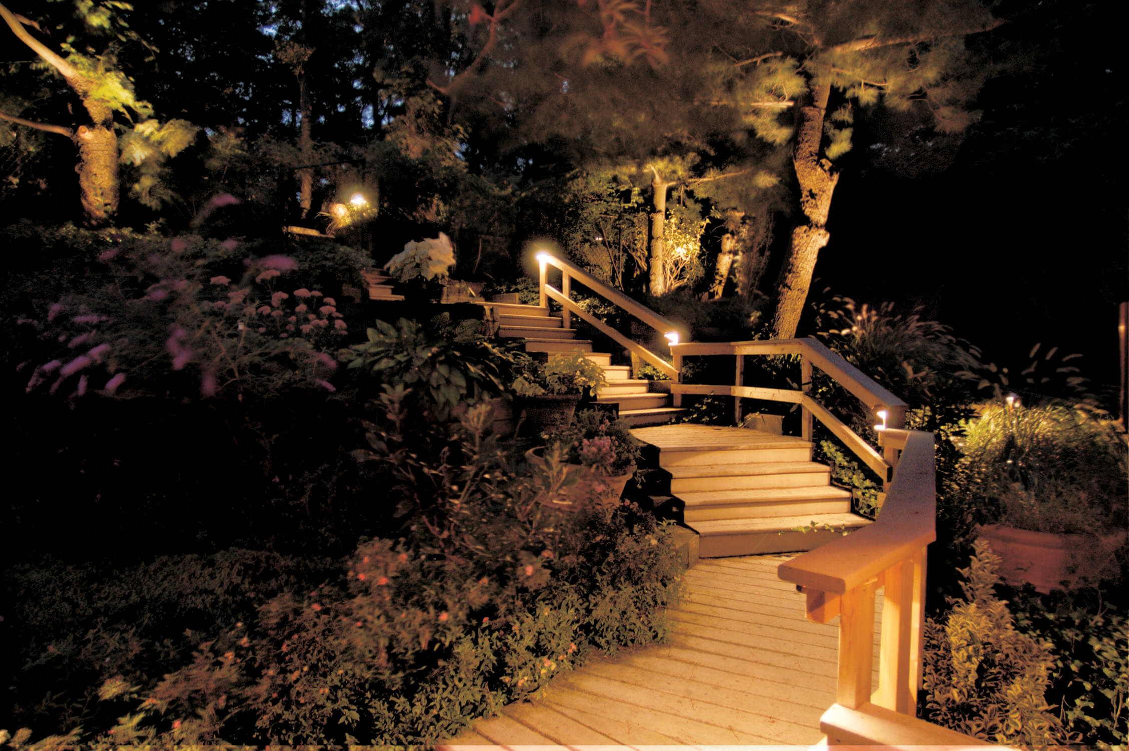 Well lit path and stairs
