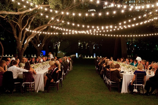 Festive outdoor lights for wedding