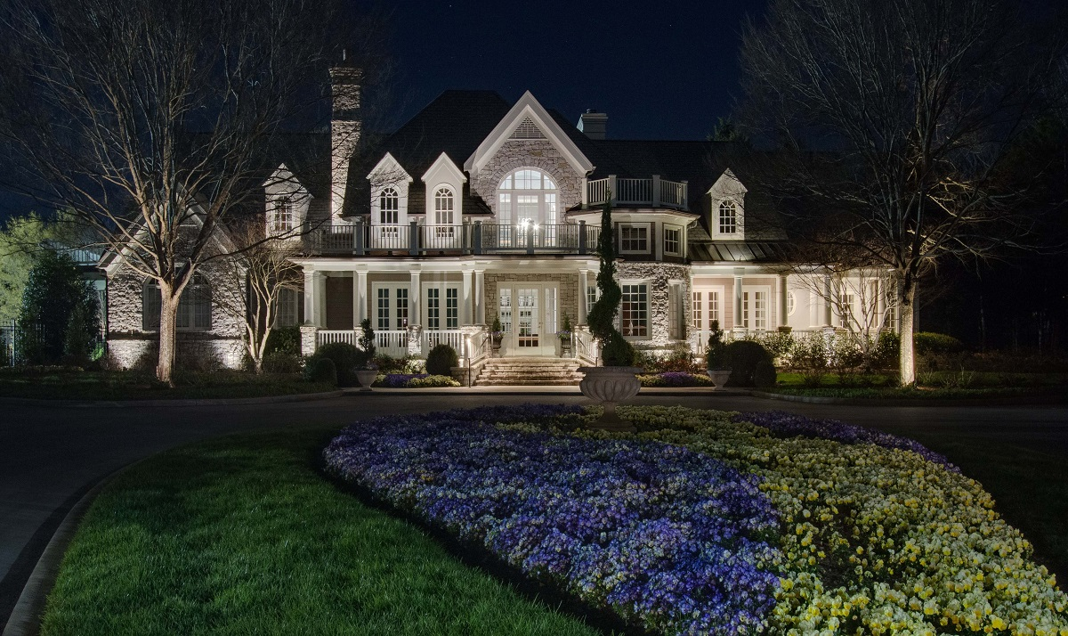 Landscape lighting in front of home