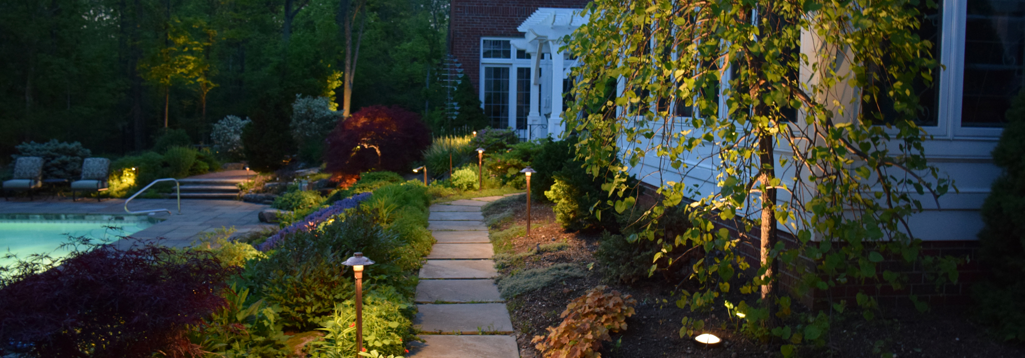 Path lighting in front of home