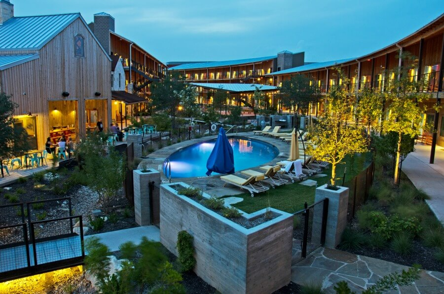 Hotel courtyard with commercial lighting