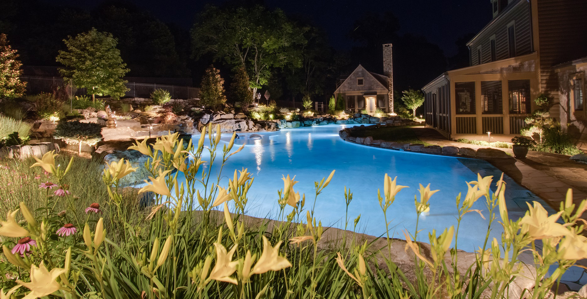 Pool and surrounding yard lighting