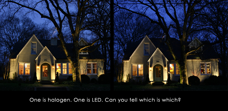 LED vs Halogen Lighting outside of home