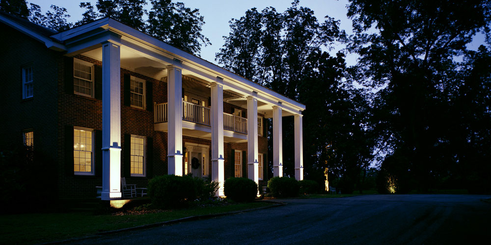 South Carolina home with outdoor lighting installed