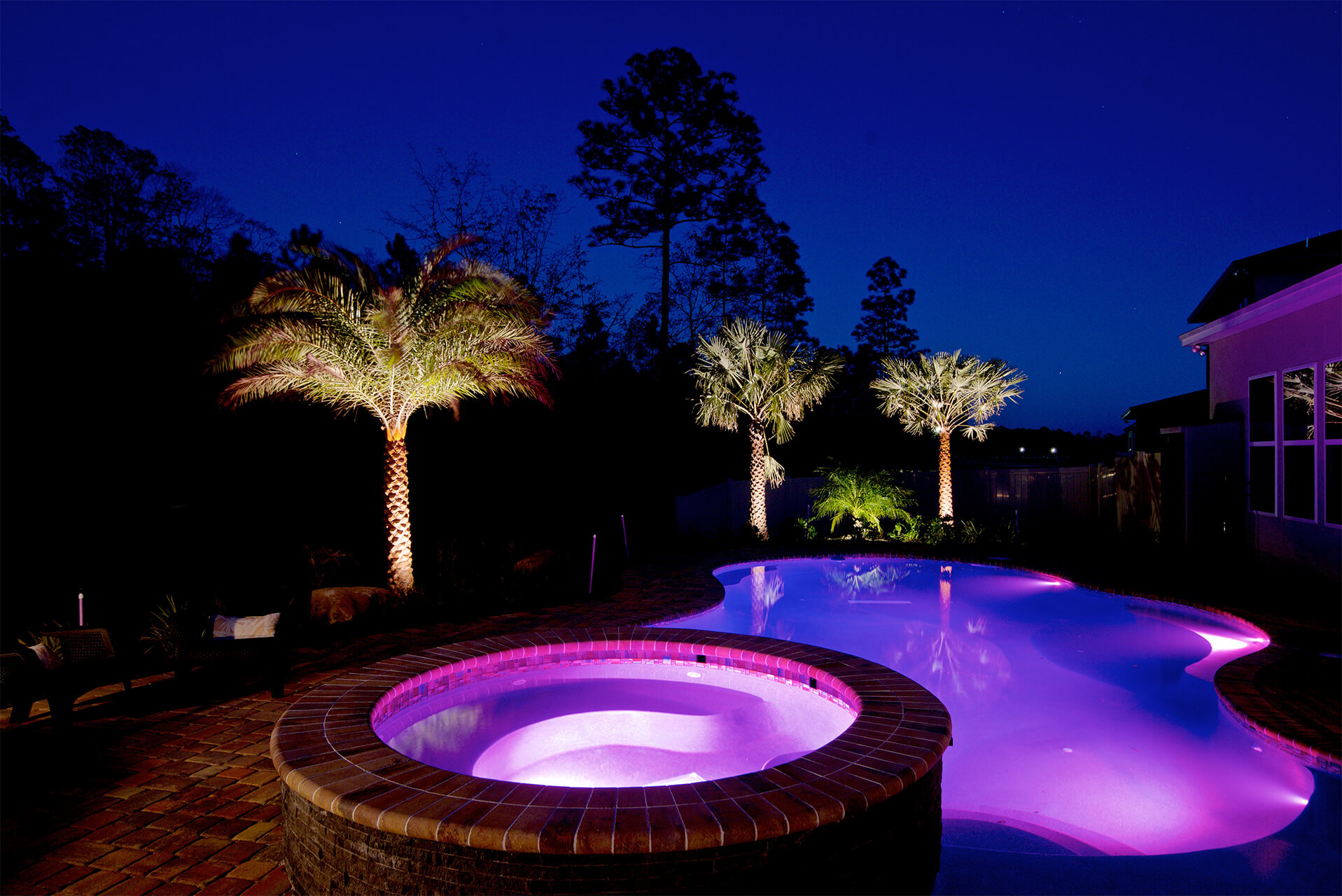 Purple LED pool lighting
