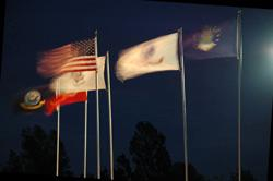 Flags at night