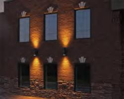 Exterior building wall with lighting