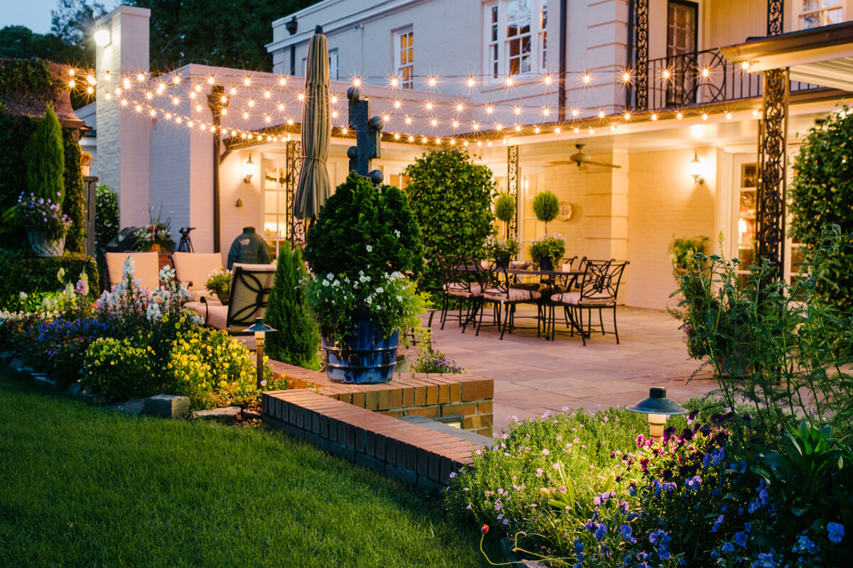 Patio with festive lighting