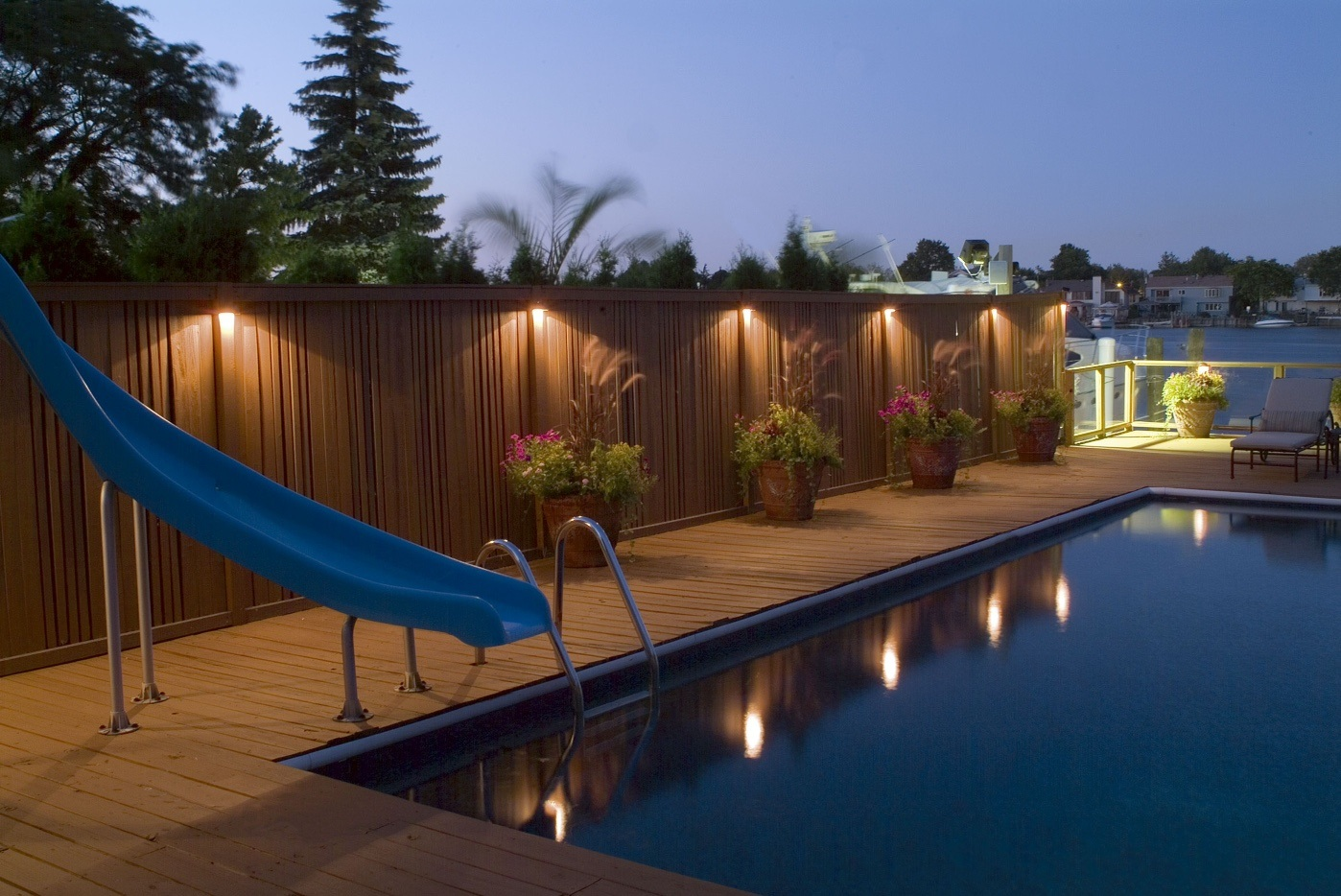 Deck and pool with lighting