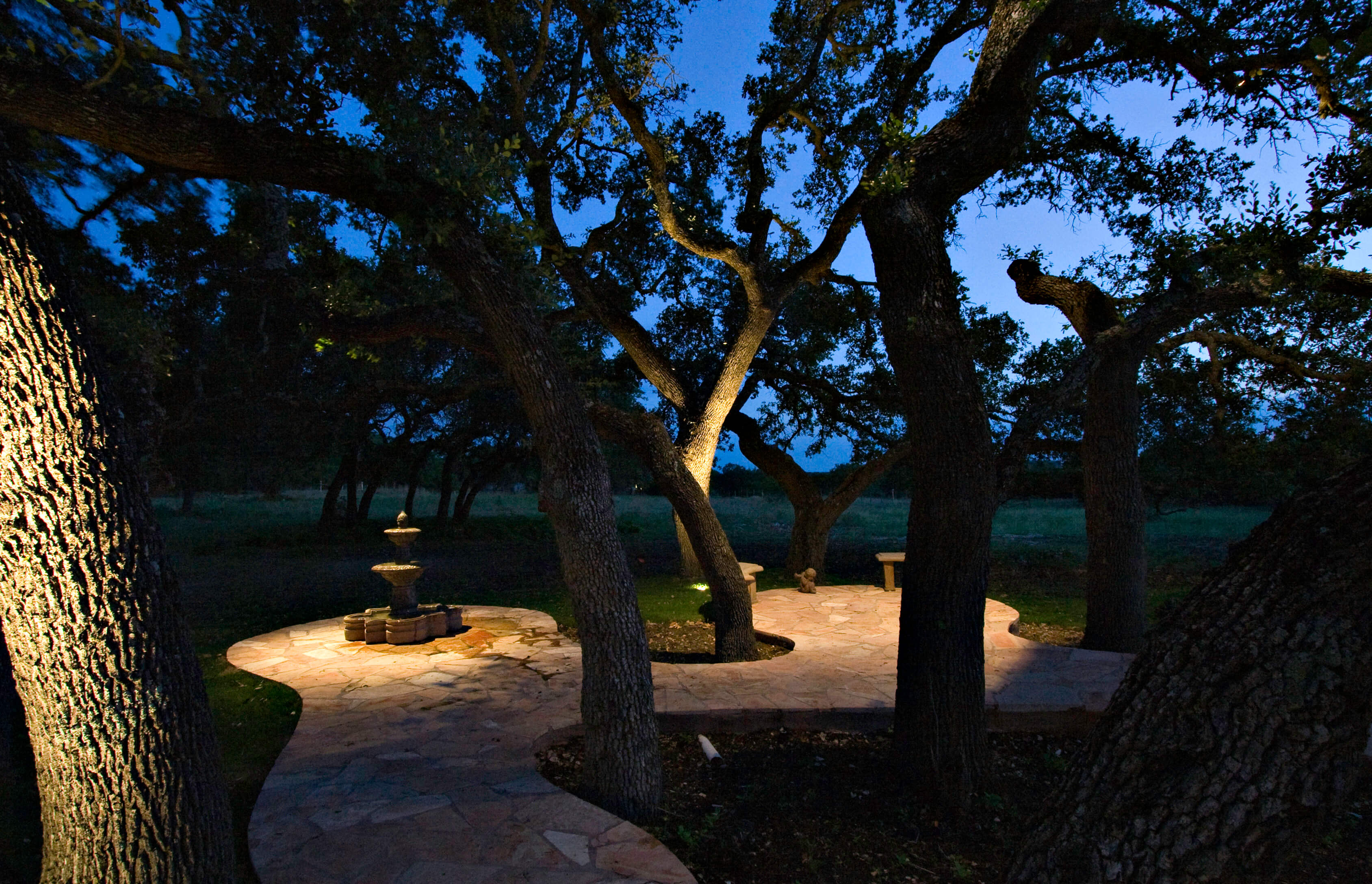 Outdoor patio area with lighting