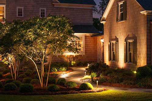 Exterior home and pathway with lighting