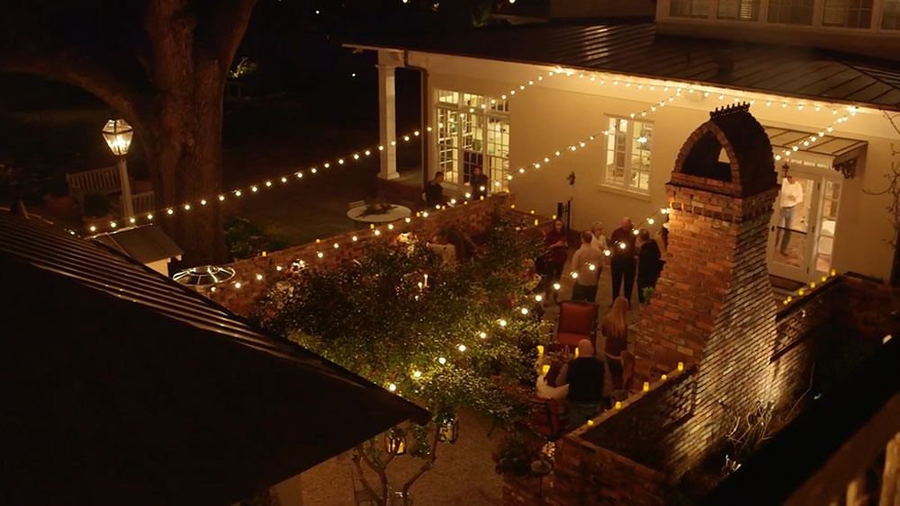 courtyard with string lighting