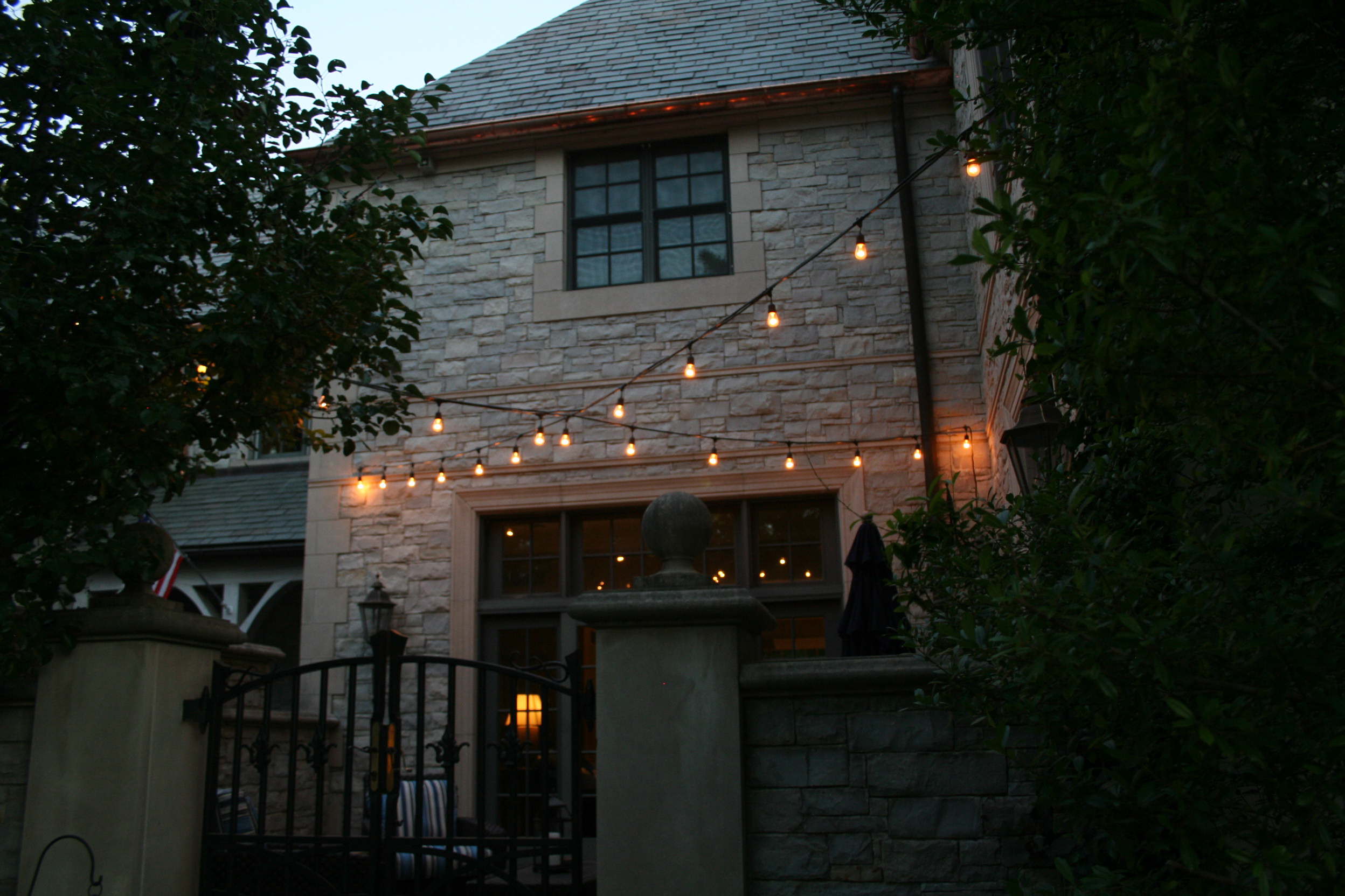 Exterior building with string lighting