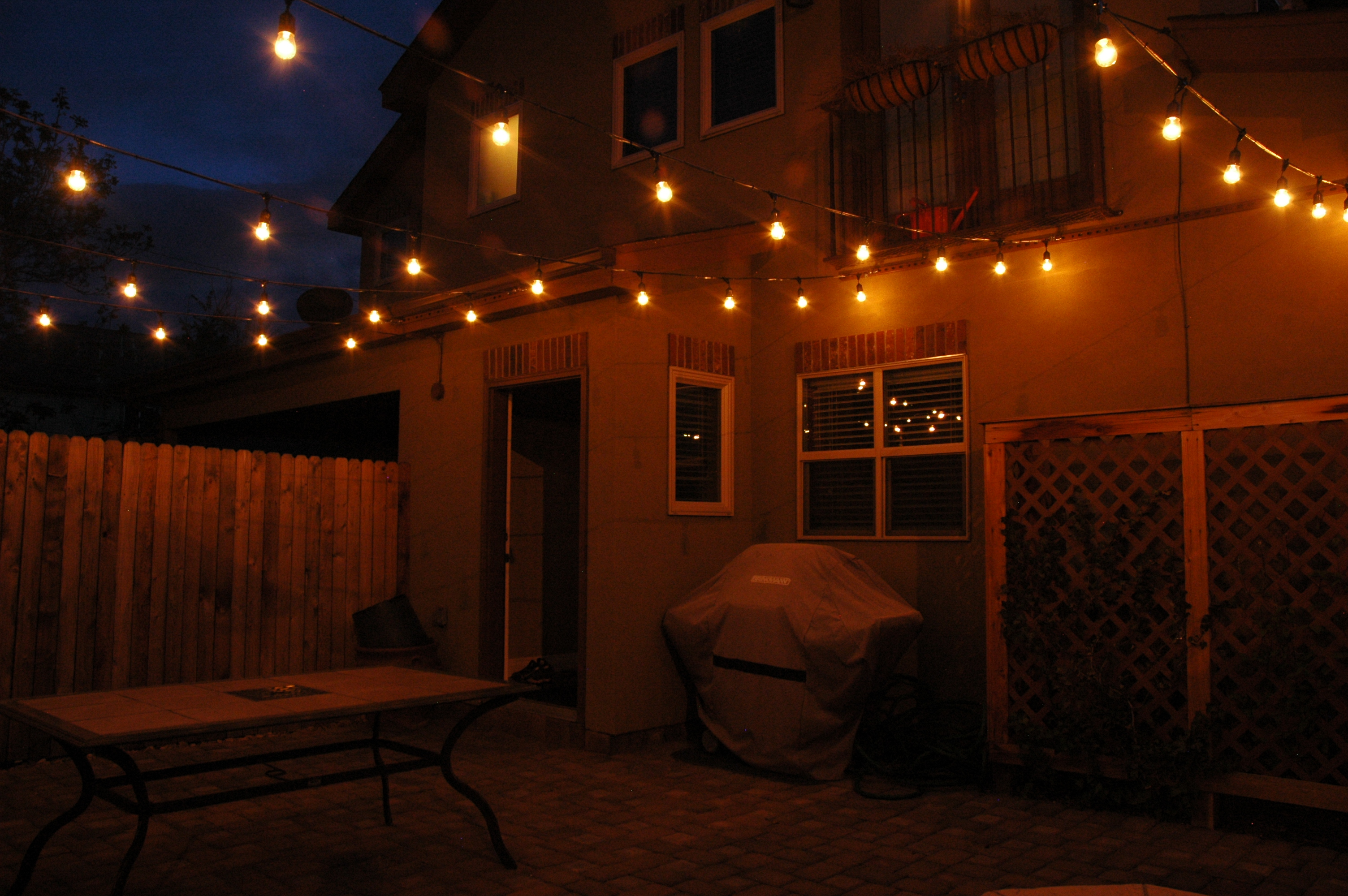Exterior courtyard with string lighting
