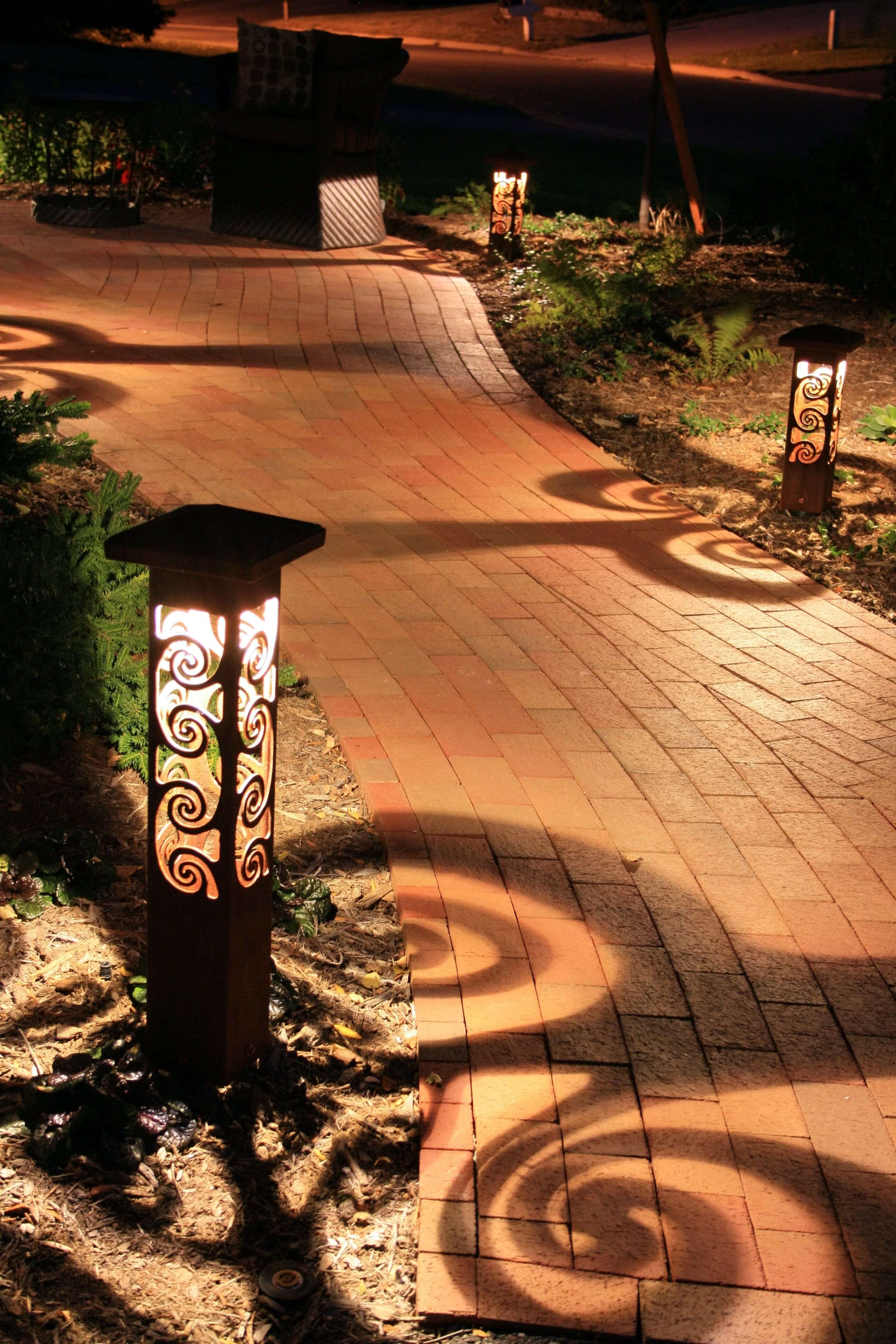 Specialty path lights on walkway