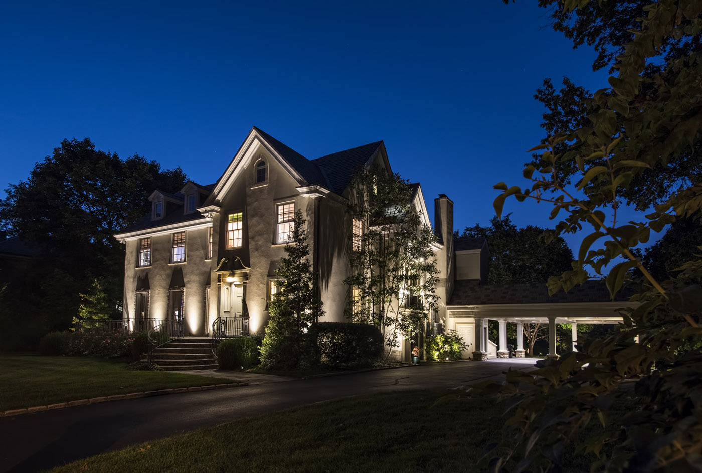 Exterior home with LED lighting