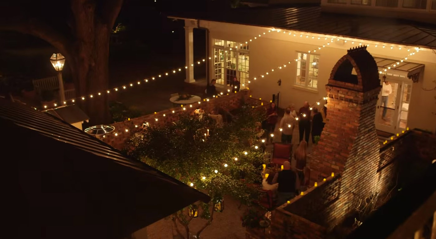 String lighting over a courtyard