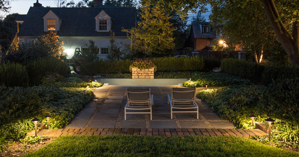 Outdoor area with lighting