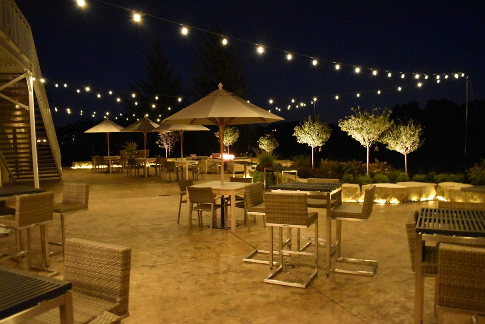 Restaurant patio with festive lighting