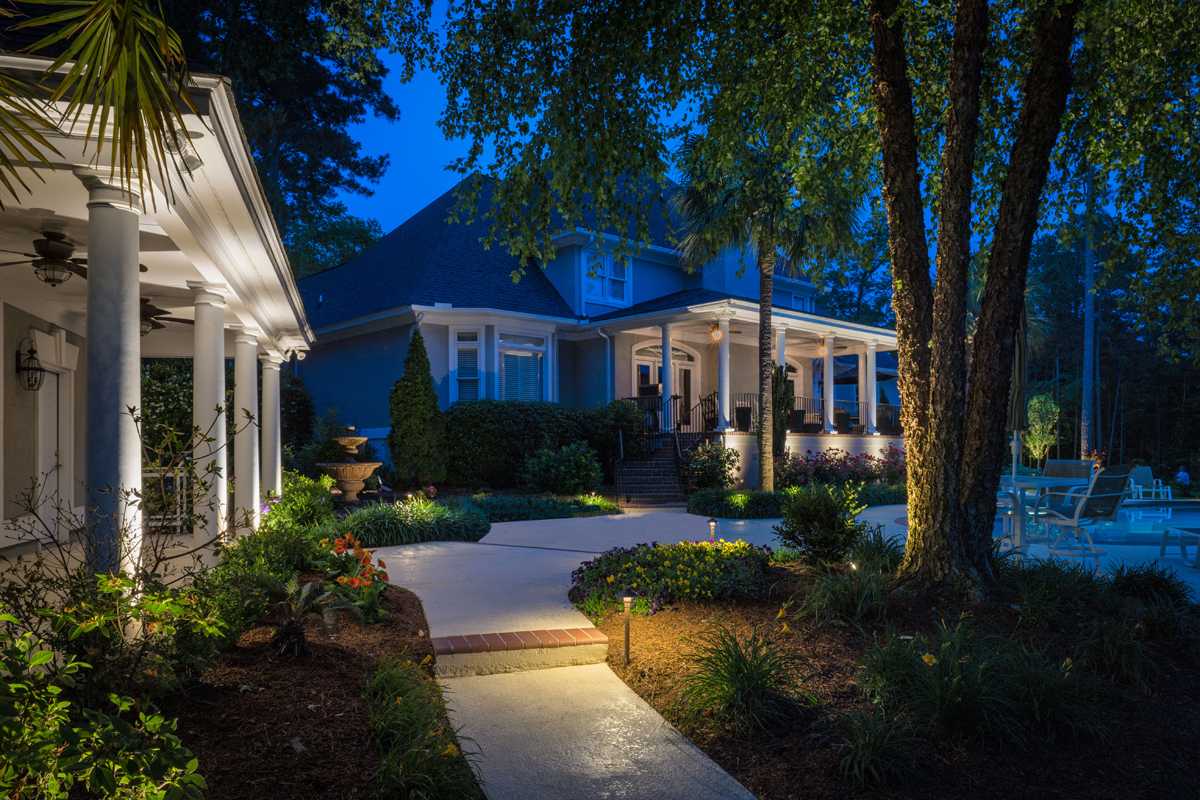 Exterior home with path lighting
