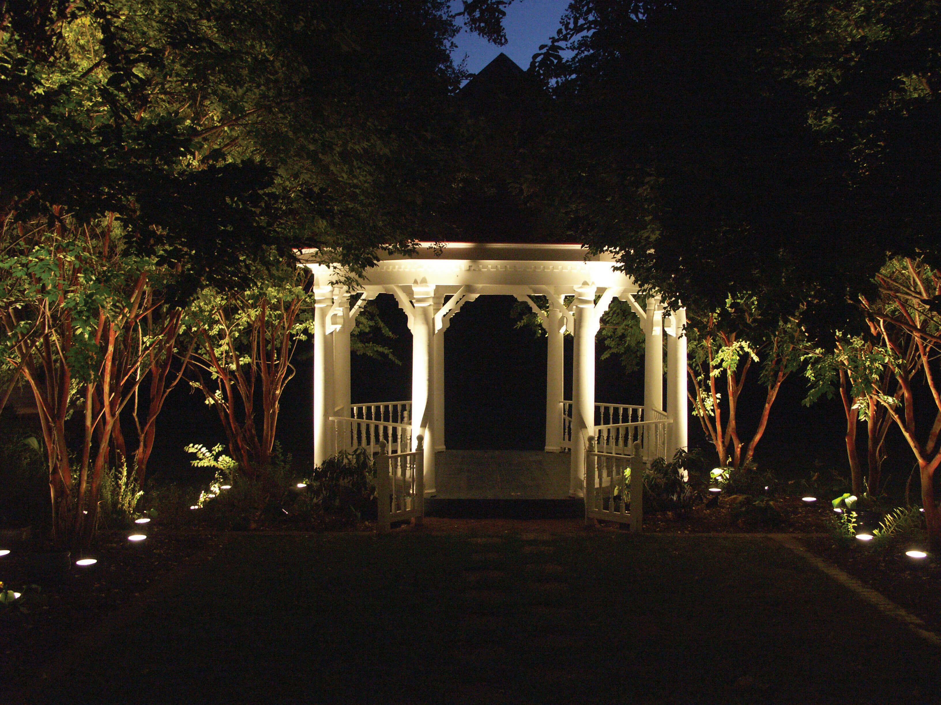 Gazebo with specialty lighting