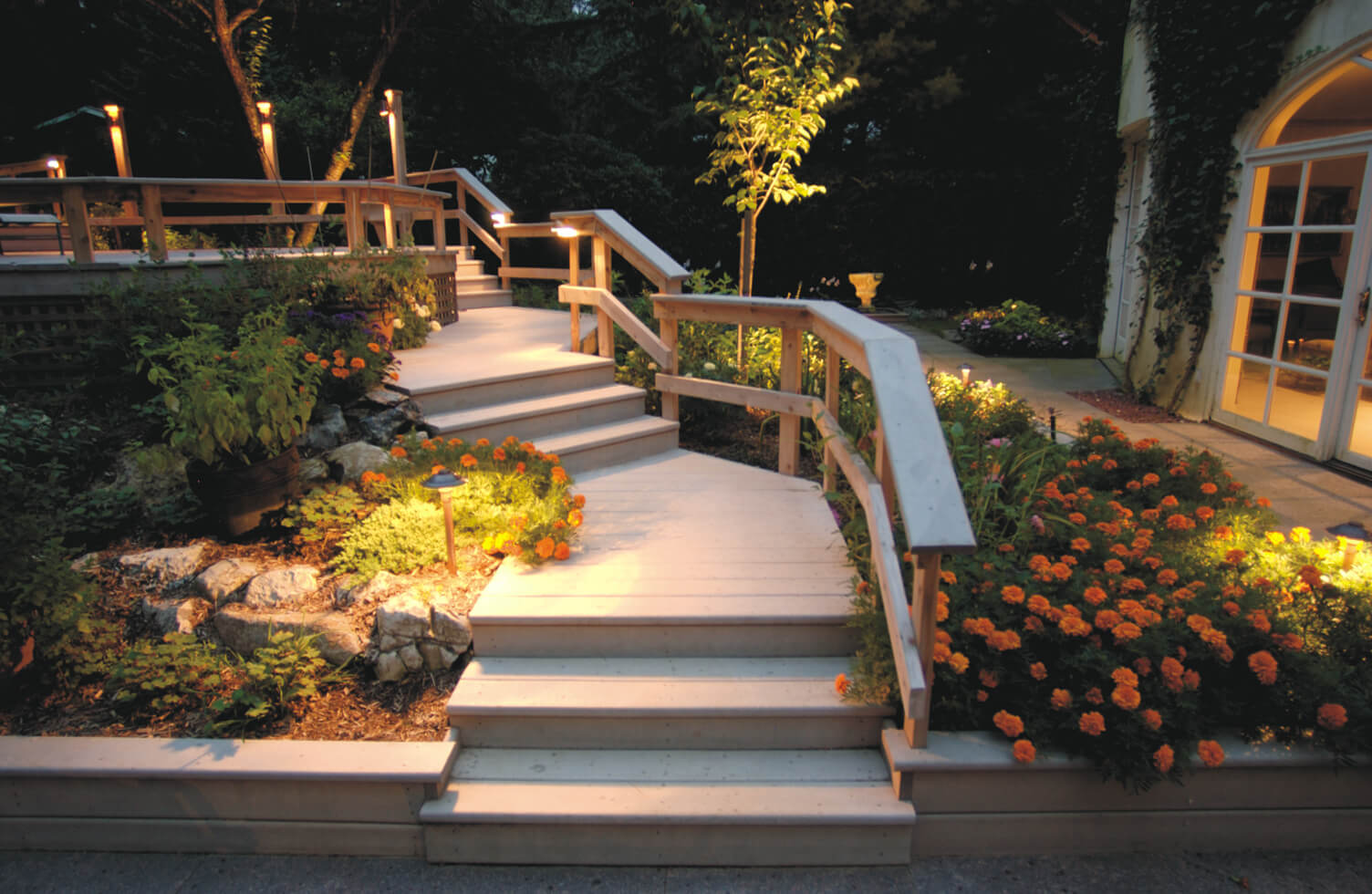 Exterior home pathway with lighting