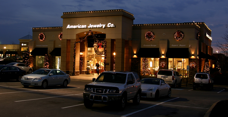 Exterior commercial building with holiday lighting