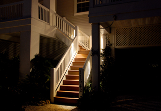 Lit stairwell at night