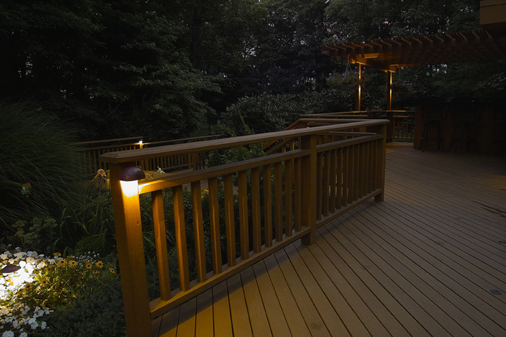 Lit deck at night