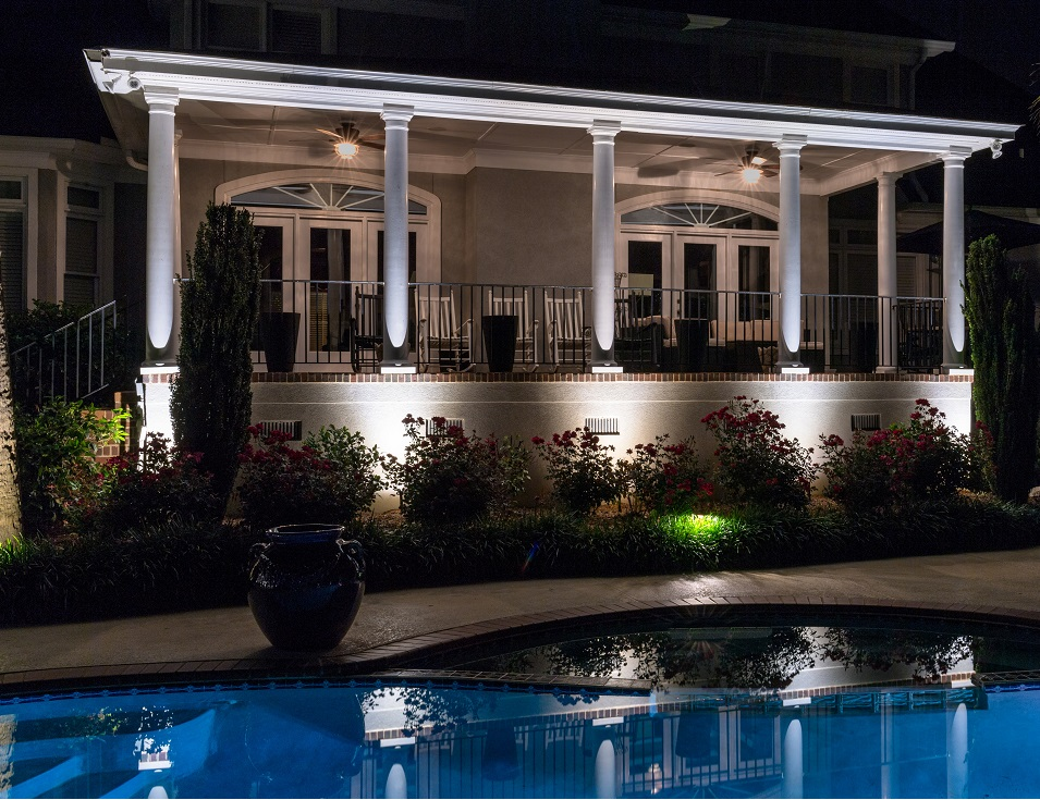 Exterior deck and pool with lighting