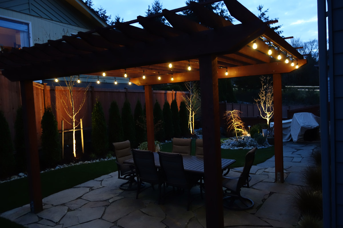 Backyard patio with lighting