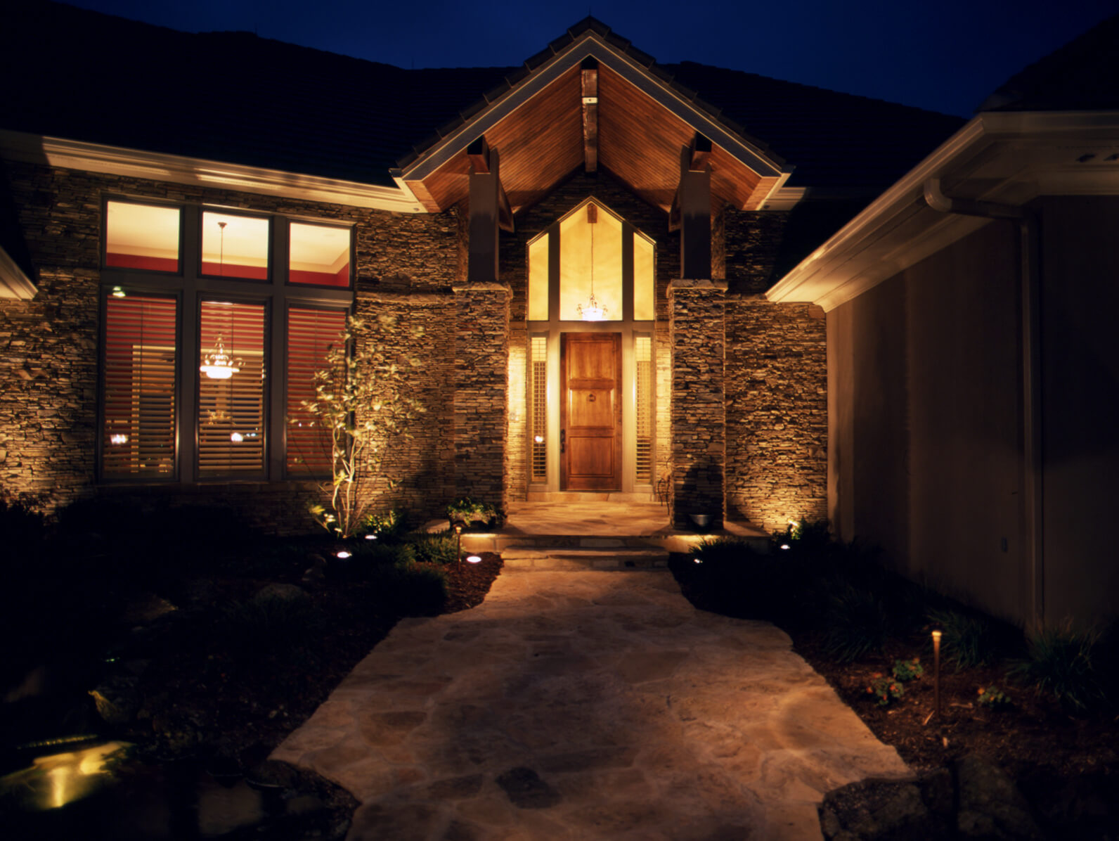 Home front entryway with lighting