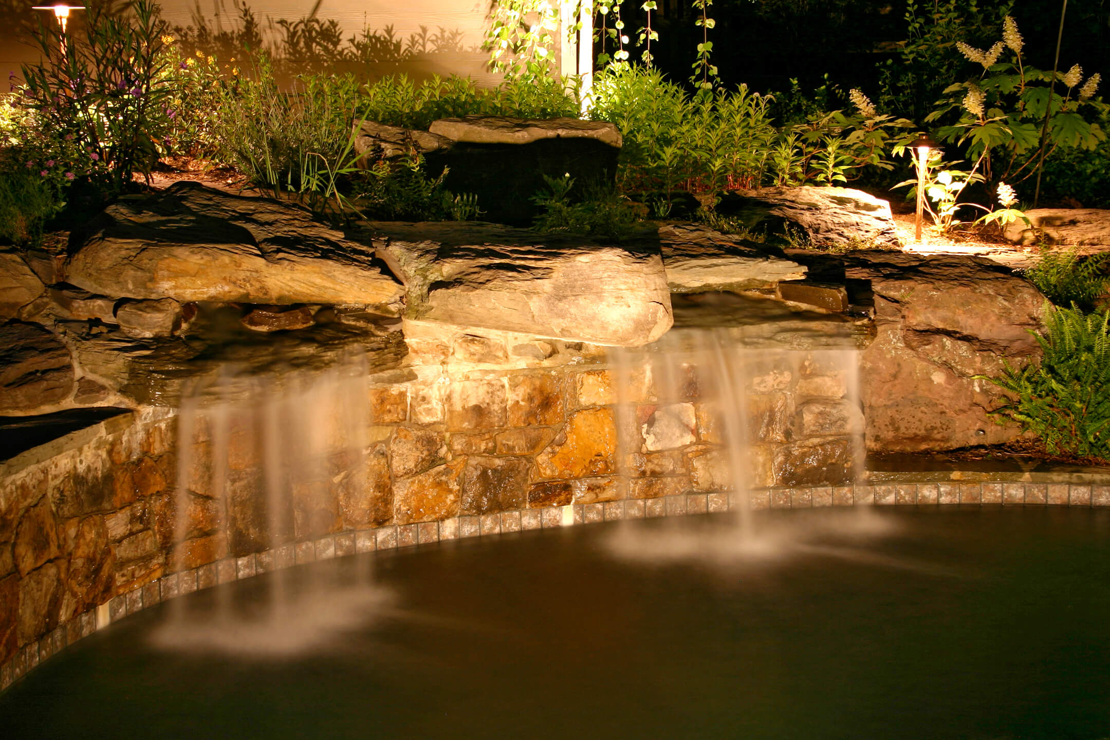 Outdoor lighting system in waterfall