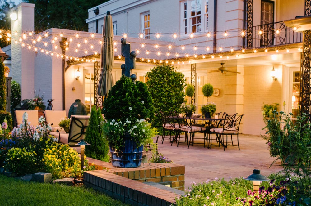 Patio with specialty lighting