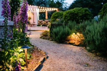 Garden with pathway lighting