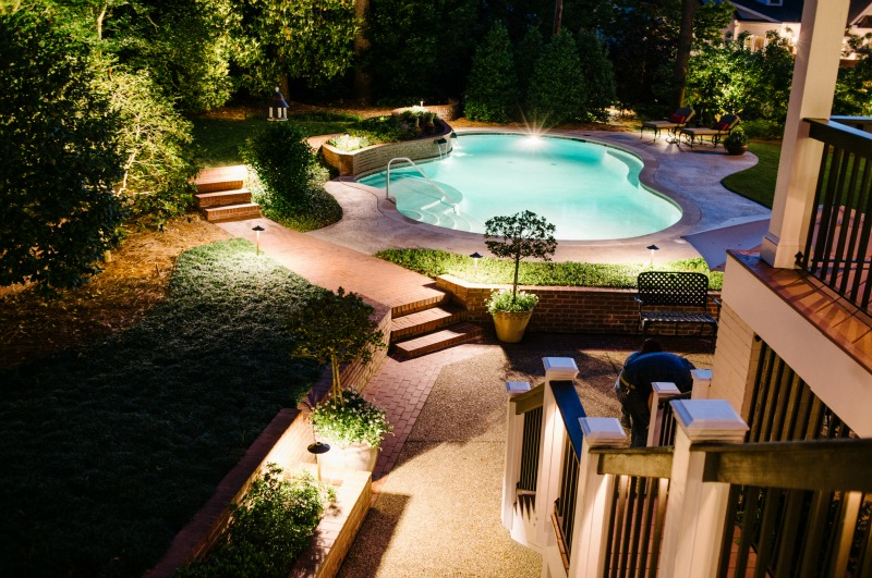 Patio and pools with lighting