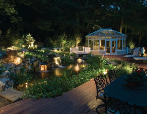 Path and gazebo with lighting