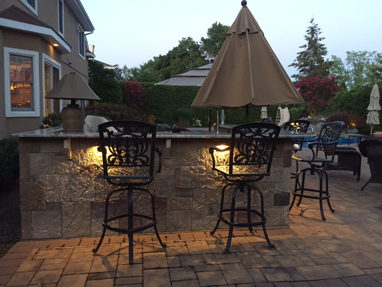 Outdoor deck with specialty lighting