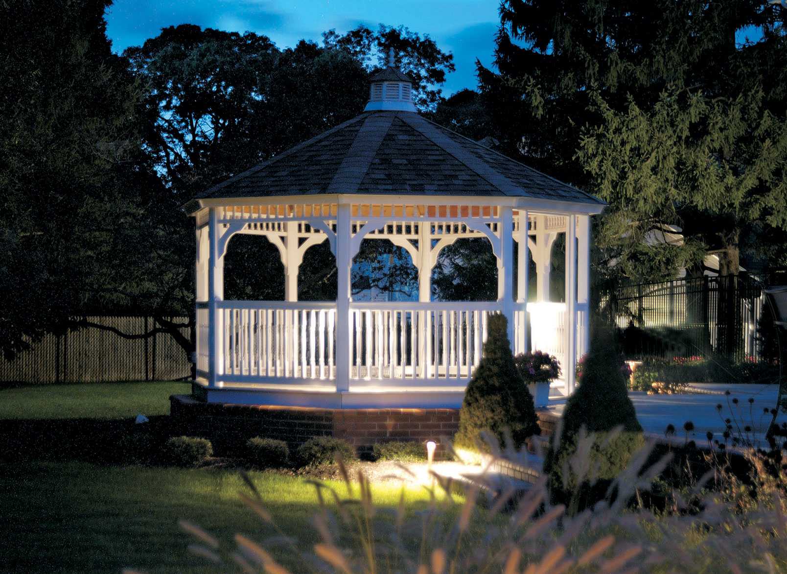 Gazebo lit by Outdoor Lighting