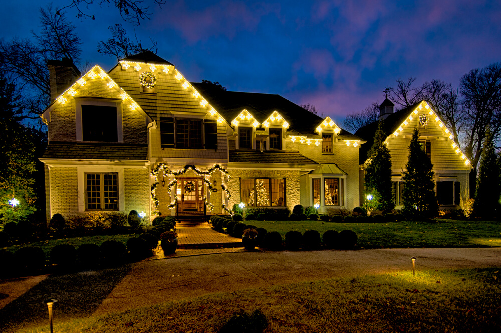 House illuminated with holiday lights