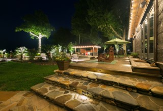 Greenville landscape renovations include landscape lighting and patio lighting